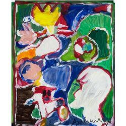 Pierre Alechinsky Belgian Neo-Expressionist Oil