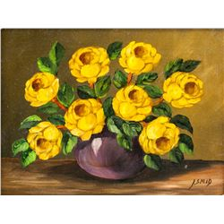 Oil on Board Still Life Flowers Signed J. SMID