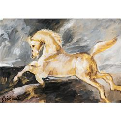 French Realist Gouache After Gericault Signed