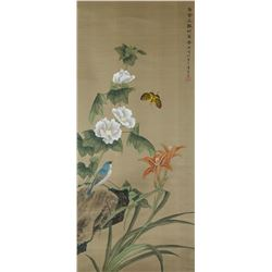 Xu Mingke Chinese Watercolor on Silk Scroll