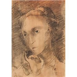 Odilon Redon French Symbolist Charcoal on Paper