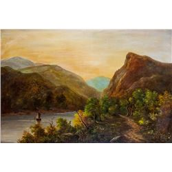 British School Oil on Canvas Landscape Painting