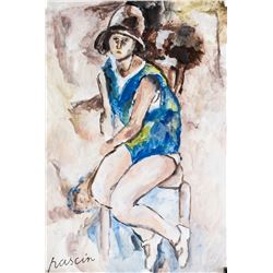 Jules Pascin French Expressionist Gouache on Paper