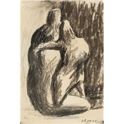 Henry Moore British Abstract Charcoal on Paper