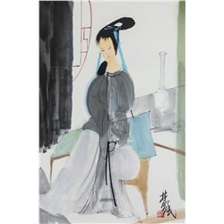 Lin Fengmian 1900-1991 Chinese Watercolor Woman