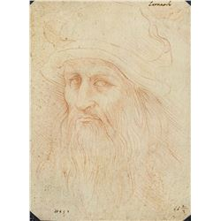 Signed Leonardo Italian Self Portrait Sketch