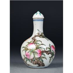 Chinese Porcelain Snuff Bottle Bats & Peaches