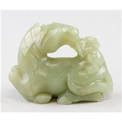 Chinese Green Jade Carved Horse