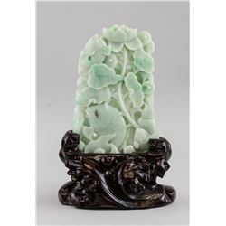 Chinese Green Jade Carved  Lotus and Fish Plaque