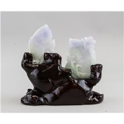 Chinese Two Lavender Jadeite Fish Plaques