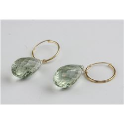 14kt Gold Green Amethyst Earrings RV $1000