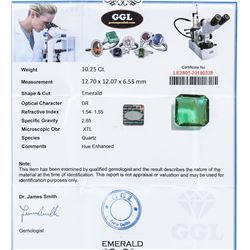 10.25 ct Emerald Cut Columbia Quartz Certificate