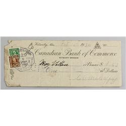 1936 Canadian Bank of Commerce Cheque with Stamps