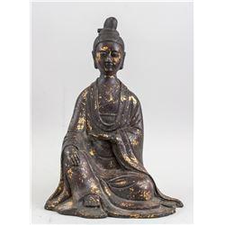 Chinese Gilt Bronze Worshipper Statue Wanli Mark