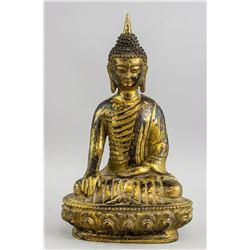 Chinese Ming Style Gilt Bronze Shakyamuni Buddha