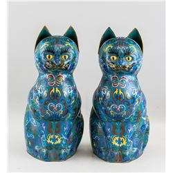 Pair of Chinese Bronze Cloisonne Cat