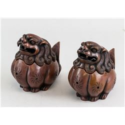 Pair Chinese Bronze Lion Censer with Mark