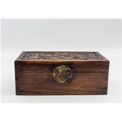 Chinese Rosewood Carved Dragon Jewellery Box