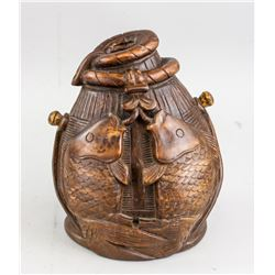 Chinese Bamboo Carved Double Fish Pot