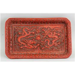 Chinese Red Lacquer Carved Dragons Tray