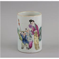 China Famille Rose Gilt Porcelain Brushpot Tongzhi