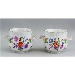 Pair of 18th C Meissen Flower Pot
