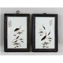 Pair Chinese Porcelain Painting Plaque Deng Bishan