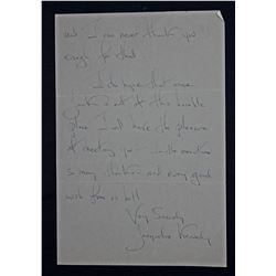 Jacqueline Kennedy Handwritten Letter Signed. Two pages (recto