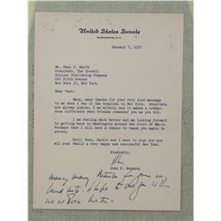 John F. Kennedy Letter Signed  John  as U.S. Senator. One page, 8 1/8  x 6 1/8 ; January 7, 1955