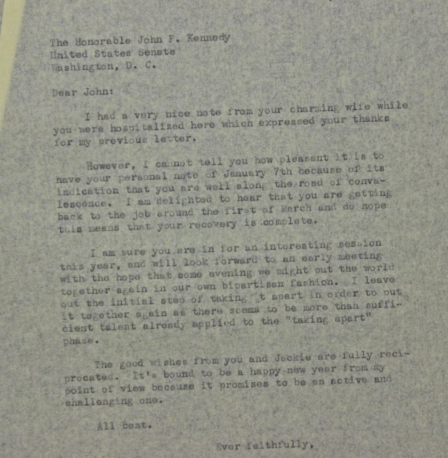 John F  Kennedy Letter Signed