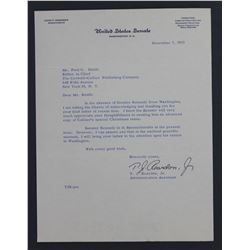 Admin Ass't Signed Letter on John F. Kennedy Senate Letterhead. One page, 10 1/2  x 8 ; Dec. 7, 1955