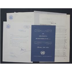 Two H.C. Lodge Jr. Letters Signed as Rep. to the United Nations; Jan. 17 and Sept. 20, 1956