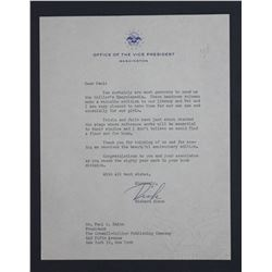 "Richard Nixon Letter Signed ""Dick"" as Vice President. One page, 9"" x 7""; Undated, 1955-1956"