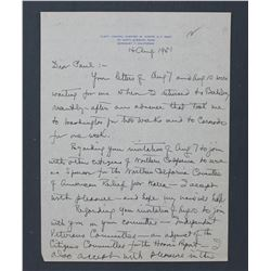 "Chester Nimitz Handwritten Letter Signed ""C.W. Nimitz"" as Fleet Admiral. Recto & Verso; Aug. 14 1951"