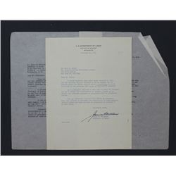 "James P. Mitchell Letter Signed as U.S. Secretary of Labor. One page; 10 1/2"" x 7 7/8"" Nov. 19, 1954"