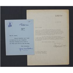 Douglas MacArthur and Jean MacArthur Typed Signed Letters; Aug. 29, 1951 and Jan. 10, 1955