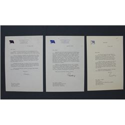 "Three Arthur W. Radford Typed Letters Signed ""Raddy"" as Commander in Chief Pacific, 1952-1955."