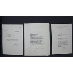 """Three Robert W. Sarnoff Typed Letters Signed """"Bob"""" as NBC President, January-September 1956"""