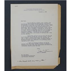 """Adlai E. Stevenson Letter as Delegate to the United Nations. One page; 10 1/2"""" x 8"""", Dec. 4, 1946"""