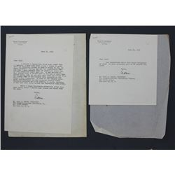 """Two Adlai E. Stevenson Typed Letters Signed """"Adlai""""; one re: 1956 Presidential Election"""