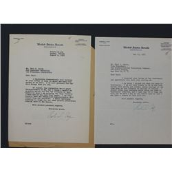 "Two Robert A. Taft Typed Letters Signed ""Rob. A. Taft"" as U.S. Senator; ea. 10 1/2"" x 8 1/8"" 1952-53"