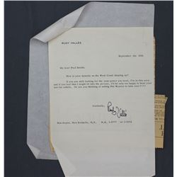 """Rudy Vallée Letter Signed """"Rudy Vallée"""" as on Letterhead. One page, 10 1/2"""" x 7 1/8""""; Sept. 25, 1956"""