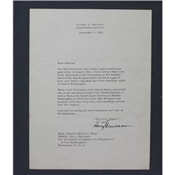 """Harry S. Truman Printed Autograph on Personal Letterhead. One page, 10 1/2"""" x 8""""; Sept. 5, 1962"""