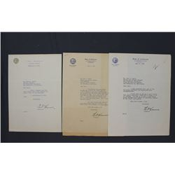 """Three Earl Warren Autograph Letters Signed """"Earl Warren"""" as Governor of California, 1946-1952"""