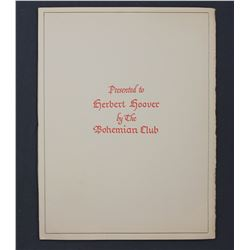 Bohemian Club Presentation Publication to Herbert Hoover at the Bohemian Grove; July 31, 1954