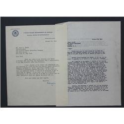 "J. Edgar Hoover Letter Signed ""Edgar"" as FBI Director, One page, 10 1/2"" x 8""; October 19, 1953"