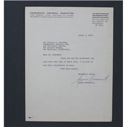 "James Roosevelt Letter Signed as DNC Committeeman. One page, 11"" x 8 1/2""; Apr. 3, 1952"