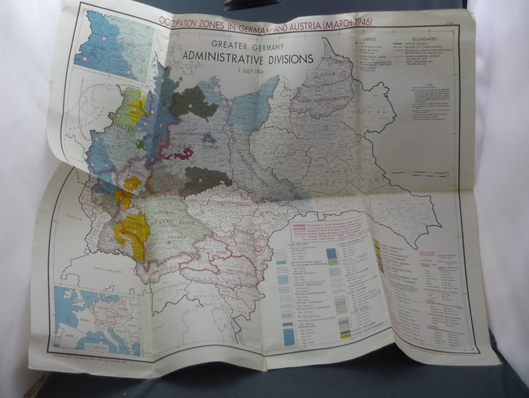 Map Of Germany Occupation Zones.Four Official Us Government Occupation Zone Maps Of Germany And Western Europe 1945 1946