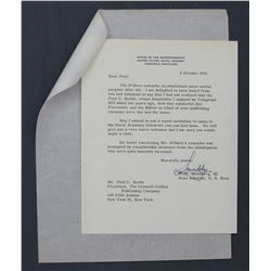 "W. R. Smedberg Letter Signed ""Smeddy"" as USN Rear Admiral. One page, 8 1/2"" x 6 7/8""; Oct. 8, 1956"