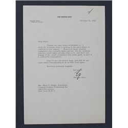 """Palmer Hoyt Letter Signed as Editor of The Denver Post. One page, 10 1/2"""" x 7 1/4""""; October 12, 1956"""